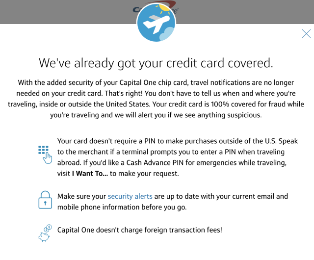 Capital One travel notice