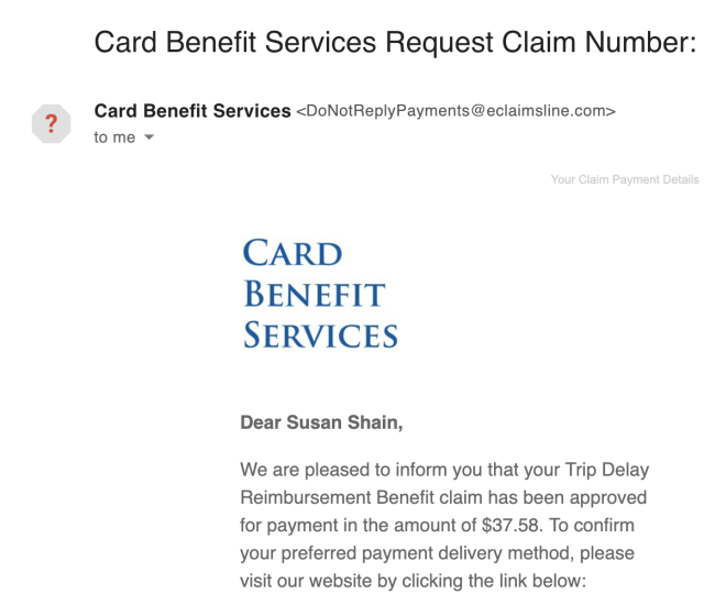 Email from Chase Sapphire Reserve card benefit services
