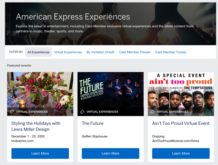 Amex experiences Gold Card benefits