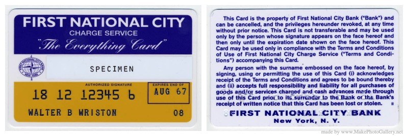 The Everything Card, issued by City Bank in 1967. Image credit: Citigroup