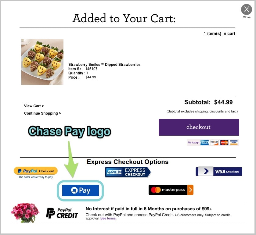 The Chase Pay logo at checkout.