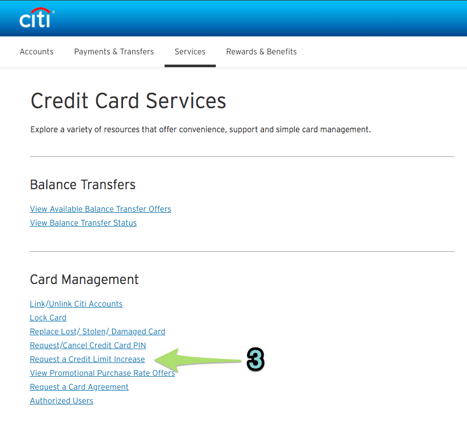 Requesting a credit line increase online with Citi (2)