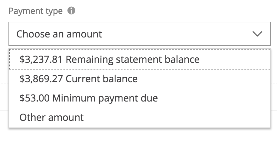 screen shot of payment options