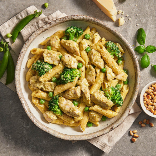Calories in My Muscle Chef Pesto Chicken With Penne Pasta & Green Vegetables