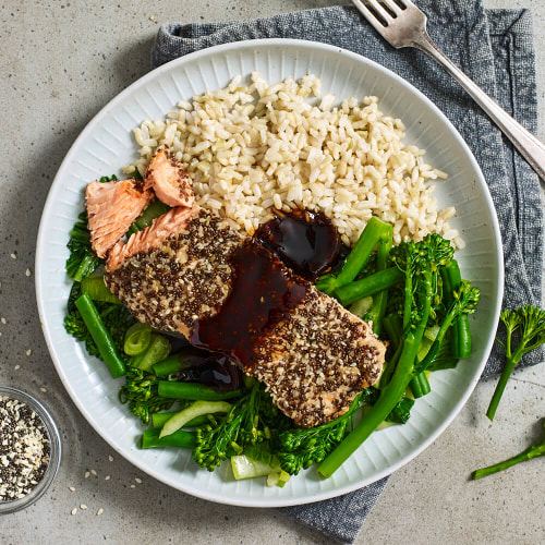 Calories in My Muscle Chef Chia Crusted Salmon with Soy Glaze, Broccolini & Rice