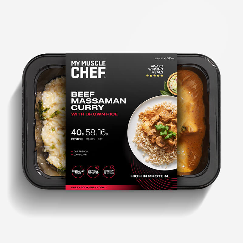 Calories in My Muscle Chef Beef Massaman Curry with Brown Rice