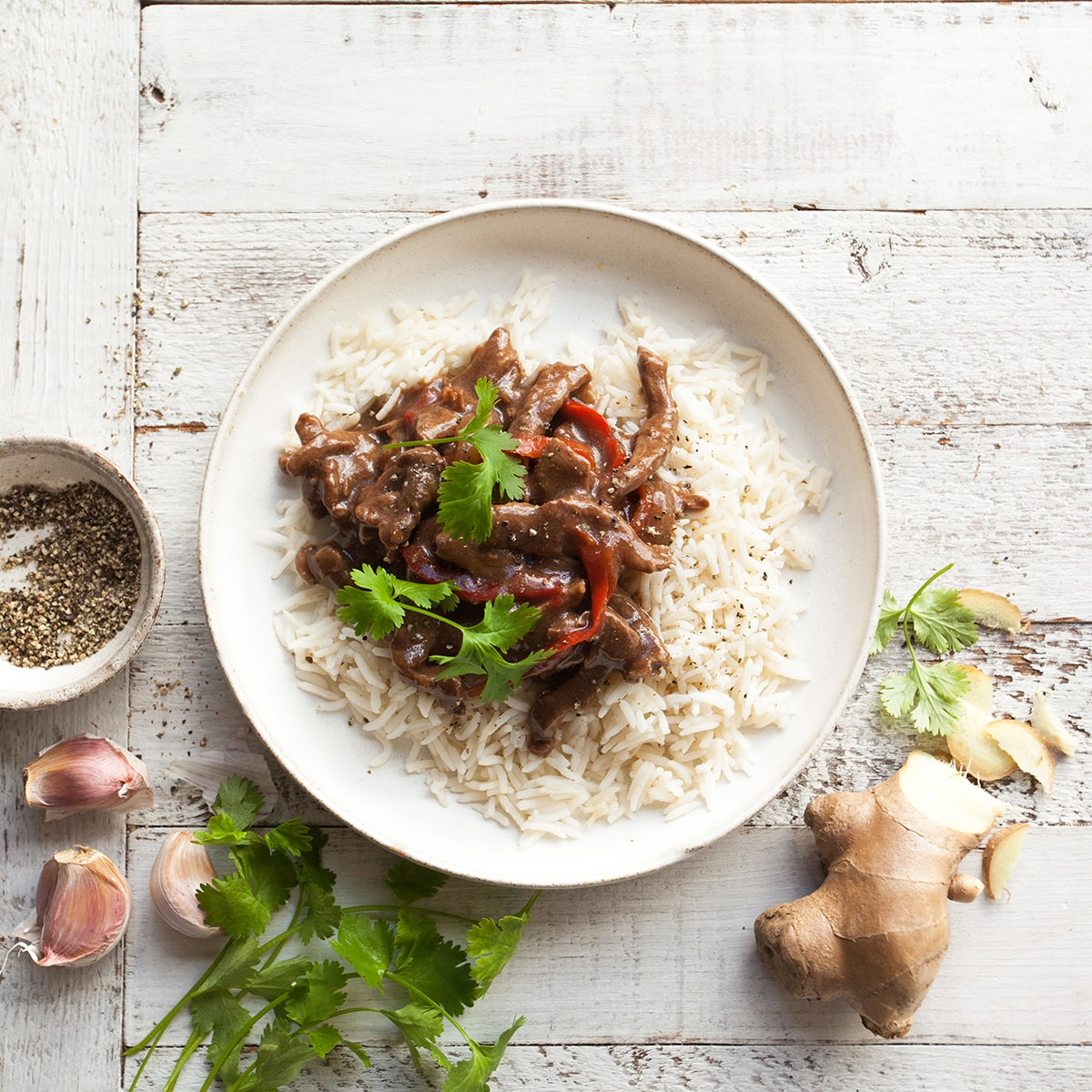 Classic Mongolian Lamb with Steamed Rice & Vegetables