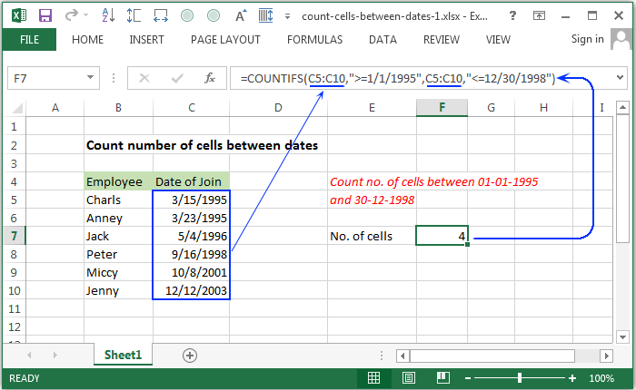 How To Count cells between two numbers