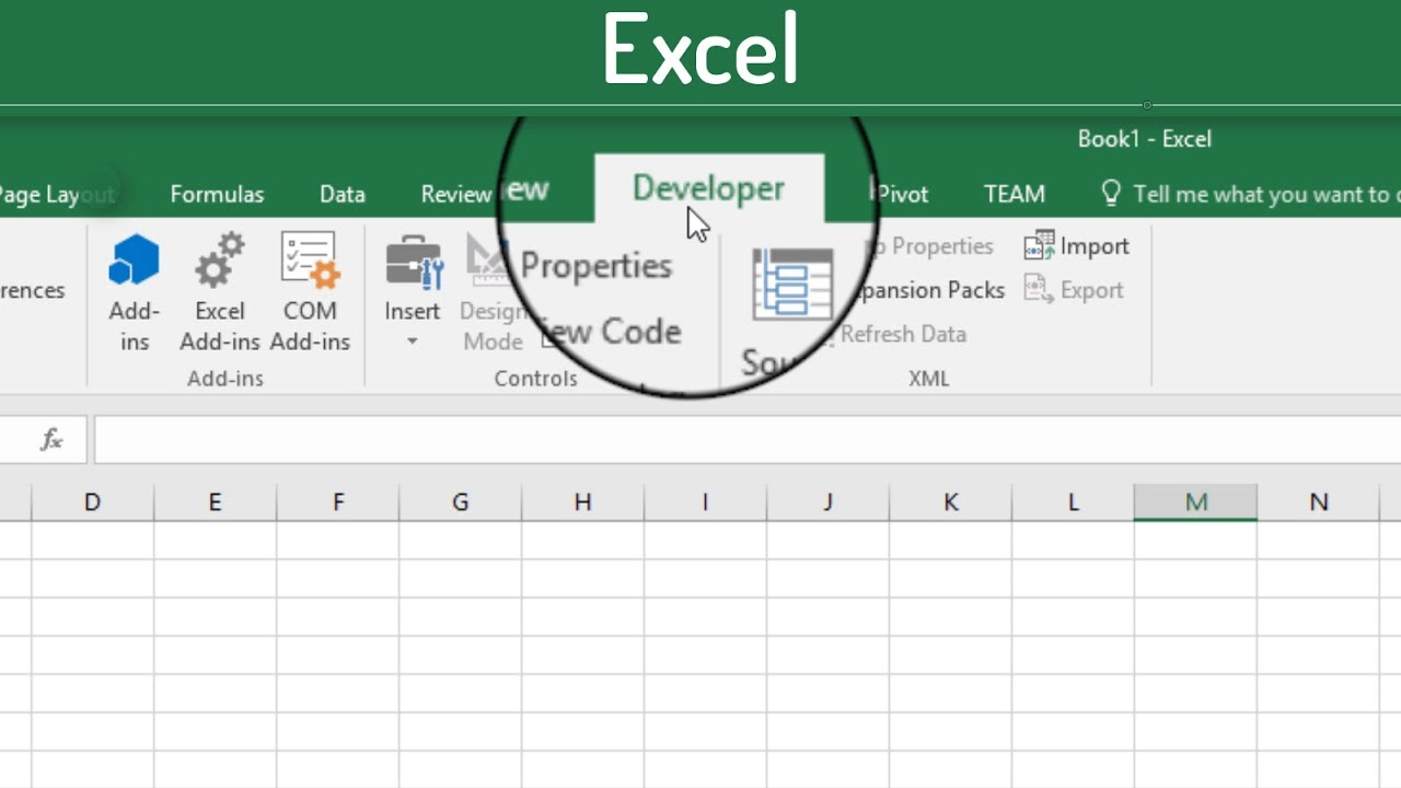 How to Turn on the Developer tab in Excel