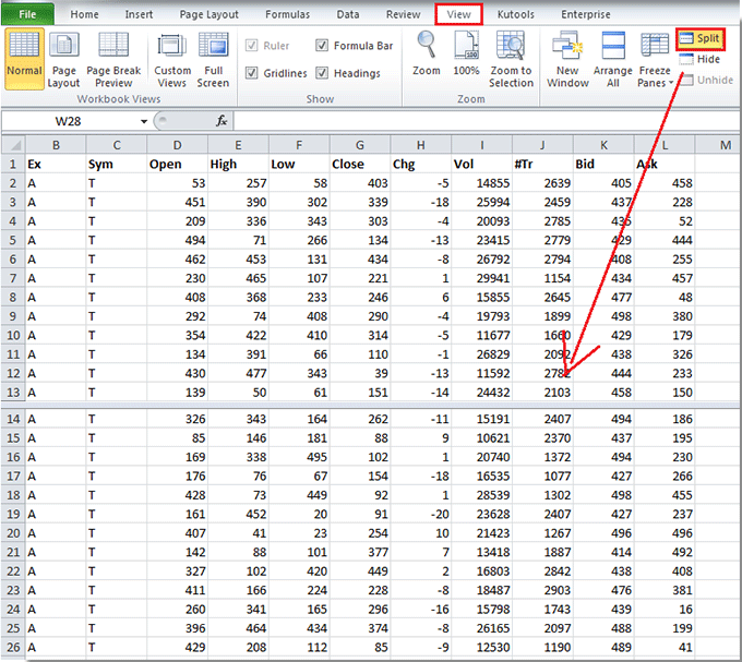 How to split worksheet in Excel