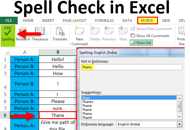 How To Check The Spelling Of Text In Excel