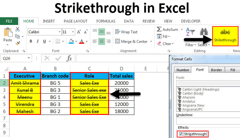 How to apply a strikethrough effect to text in Excel