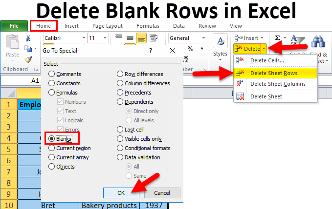 How to delete blank rows or rows that contain blank cells