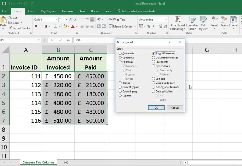 How To Quickly Highlightt Row Differences in Excel