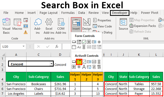 How to create a custom search box in Excel