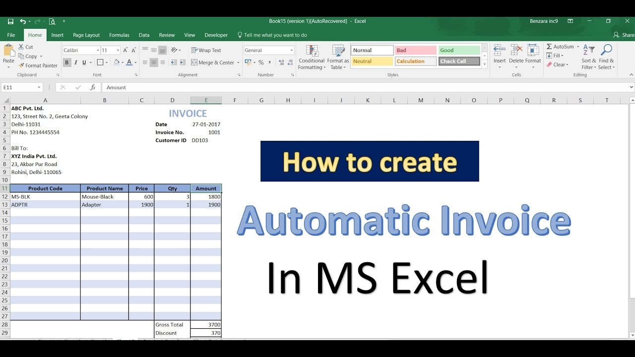 How to automate the generation of invoices in Excel