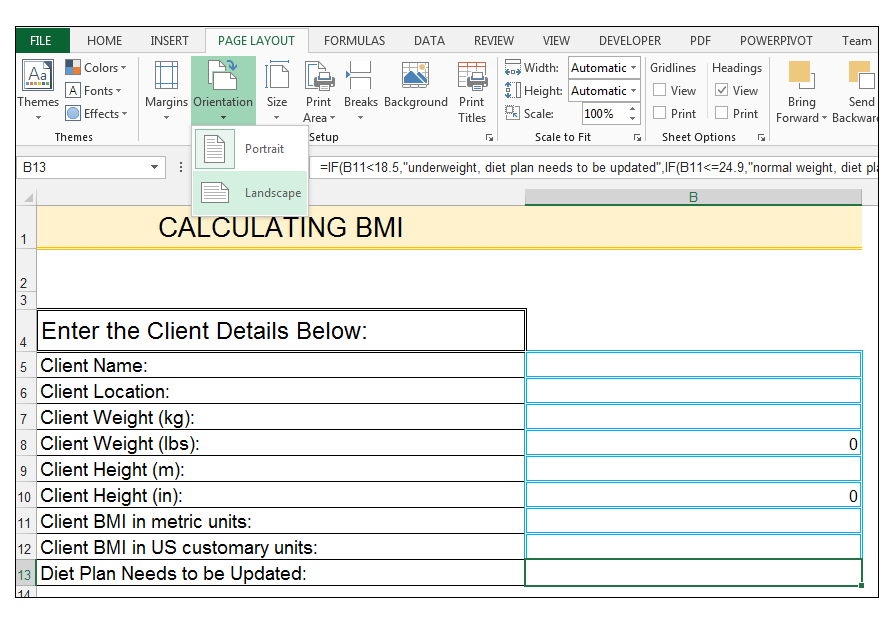 How to A Calculate BMI Template in Excel