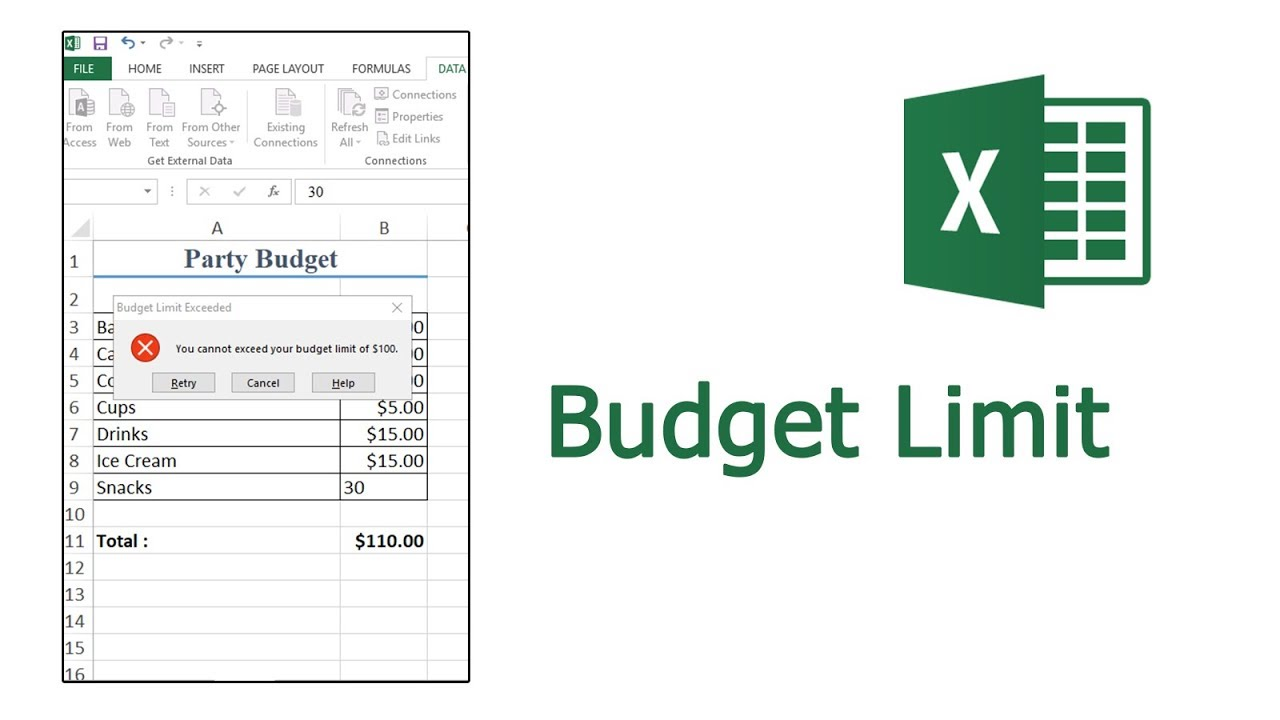 How to use create a Budget limit with data validation in Excel
