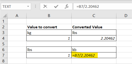 How to Convert kg to lbs in excel