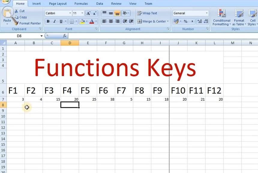 Function keys allow you to do things with keyboard in excel