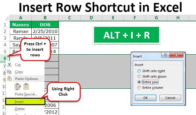 Insert Row Keyboard Shortcut In Excel