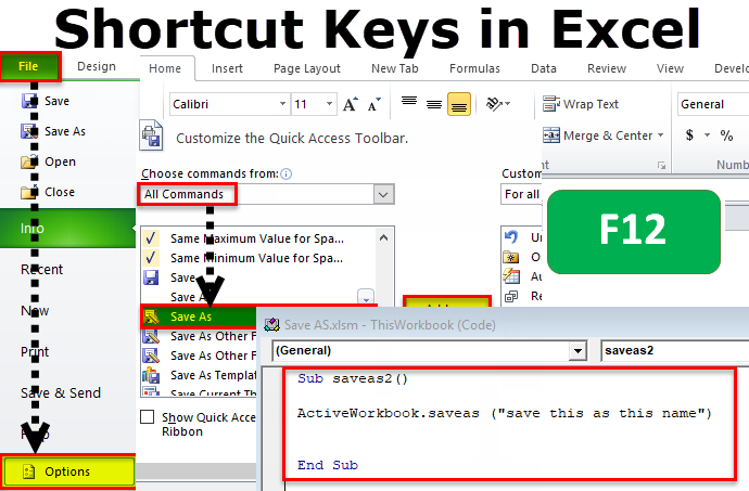 Save As Shortcut in Excel : F12 to display the Save As dialog box