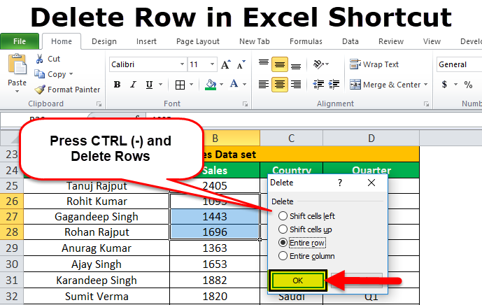 Quickly Delete Row Shortcut In Excel