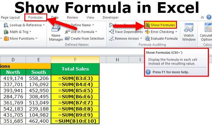 show formulas shortcut key in excel