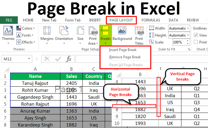 Insert a page break When Printing in Excel