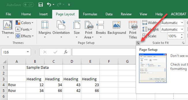 How to print center on page in excel