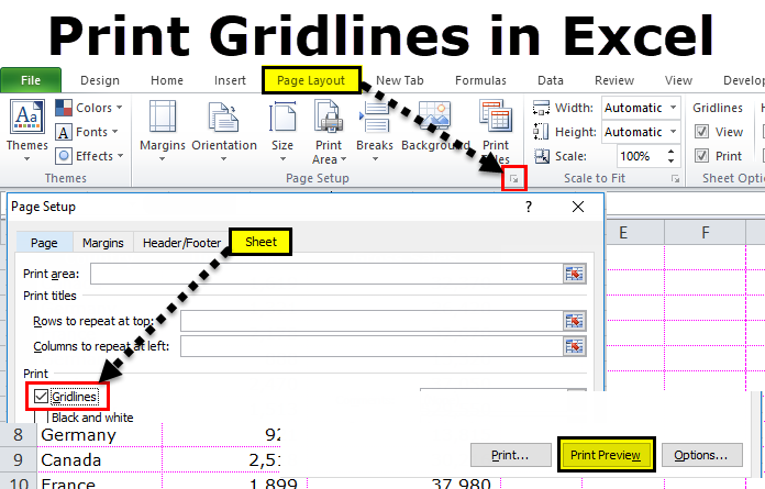 How to Print the Gridlines and Headings In Excel