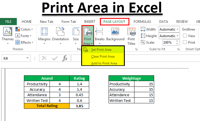 How To Set or clear a Print Area in Excel