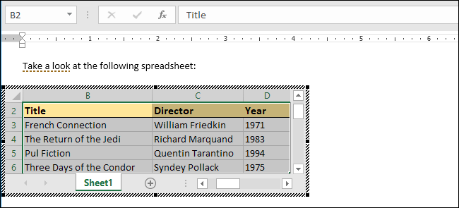 How to Share to and Embed Excel Files in Word Documents