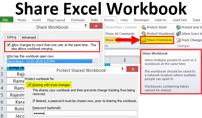 How To share a workbook in Excel