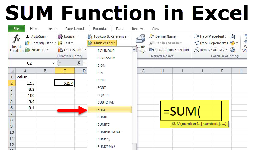 How to Use the SUM function in Excel to sum a range of cells