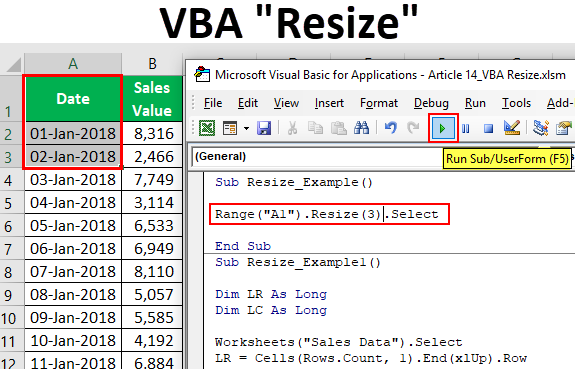How To Use Resize Property In Excel VBA