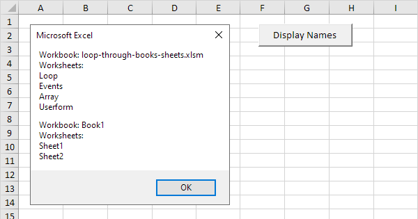How to Use Loop through Books and Sheets in Excel