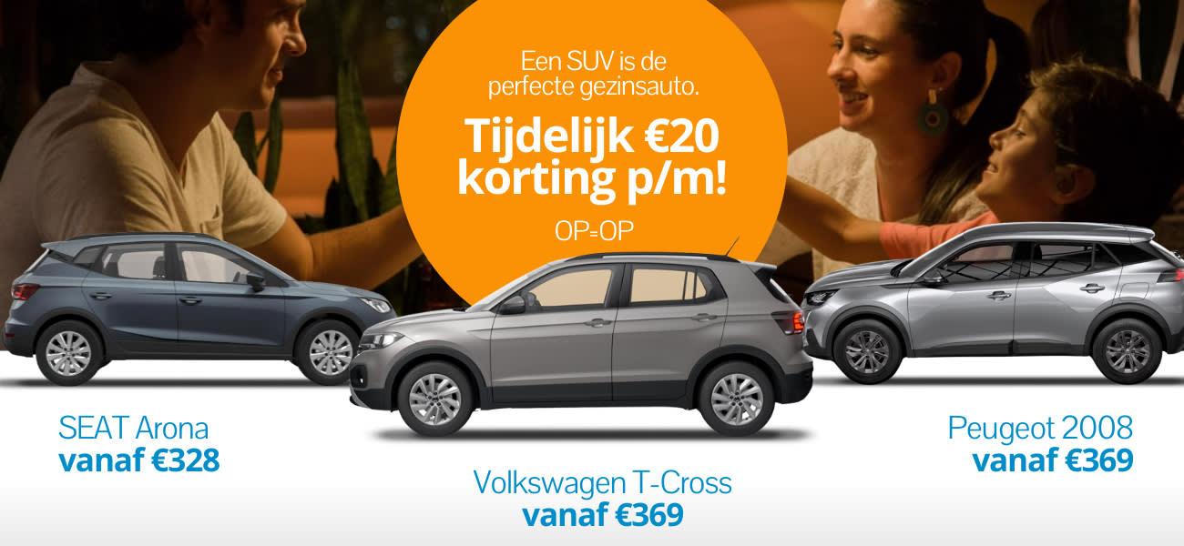 SUV kortingsdeal! Krijg €20 korting cadeau als je kiest voor een Volkswagen T-Cros, SEAT Arona of Peugeot 2008.