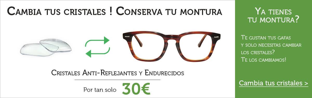 cambio cristales y lentes de gafas graduadas online