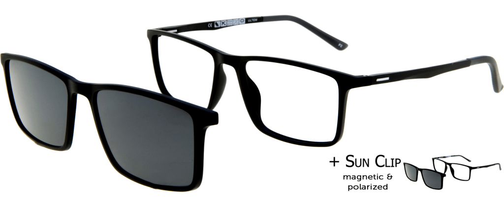 26f3b3bd21 lunettes de vue PlastiFlex Clip-On Elite Noir Mat ...