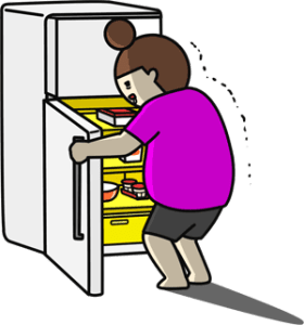 冷蔵庫を眺めるイラスト