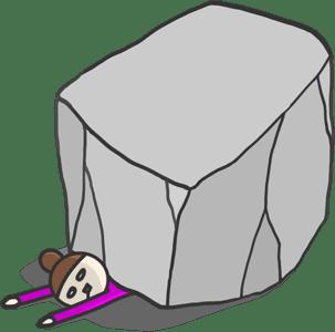 岩の下敷きになる女性のイラスト
