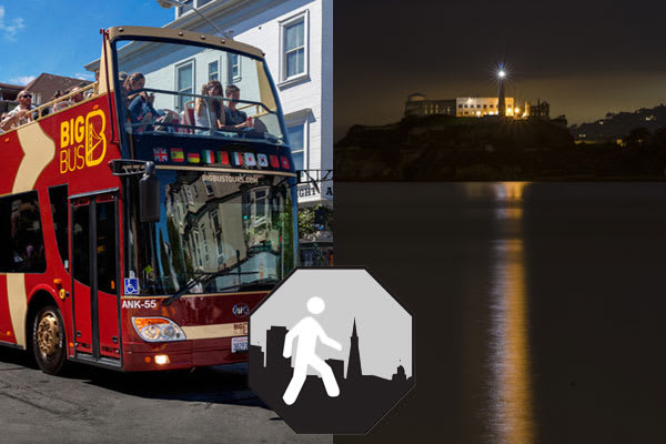 Alcatraz Night Tour + 2 Day Hop-On/Hop-Off Deluxe Big Bus + City at Night + Sausalito Loop