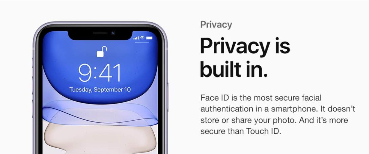 الخصوصية باستخدام قارئ الوجه Face ID