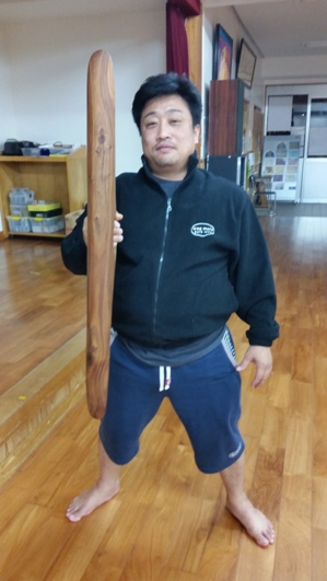 Satoshi sensei with his mulga wood heliman (parrying shield)