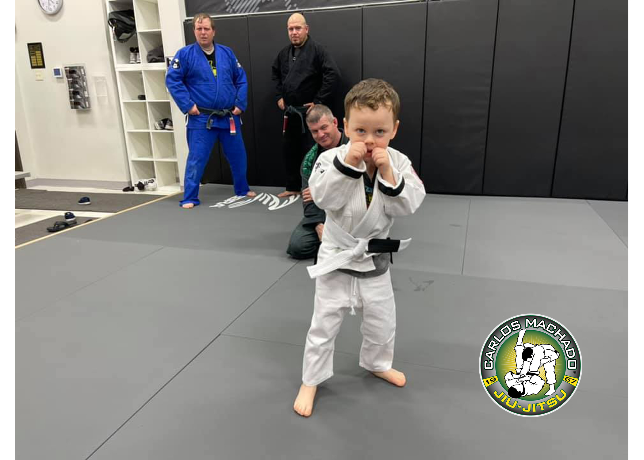 A young jiu jitsu student displaying his confidence