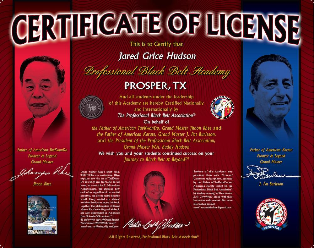 Certificate of License from Professional Black Belt Association