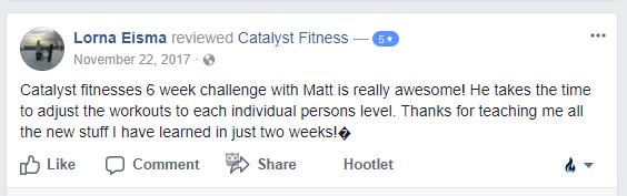 Lorna's 6 Week Challenge, Catalyst Fitness testimonialS