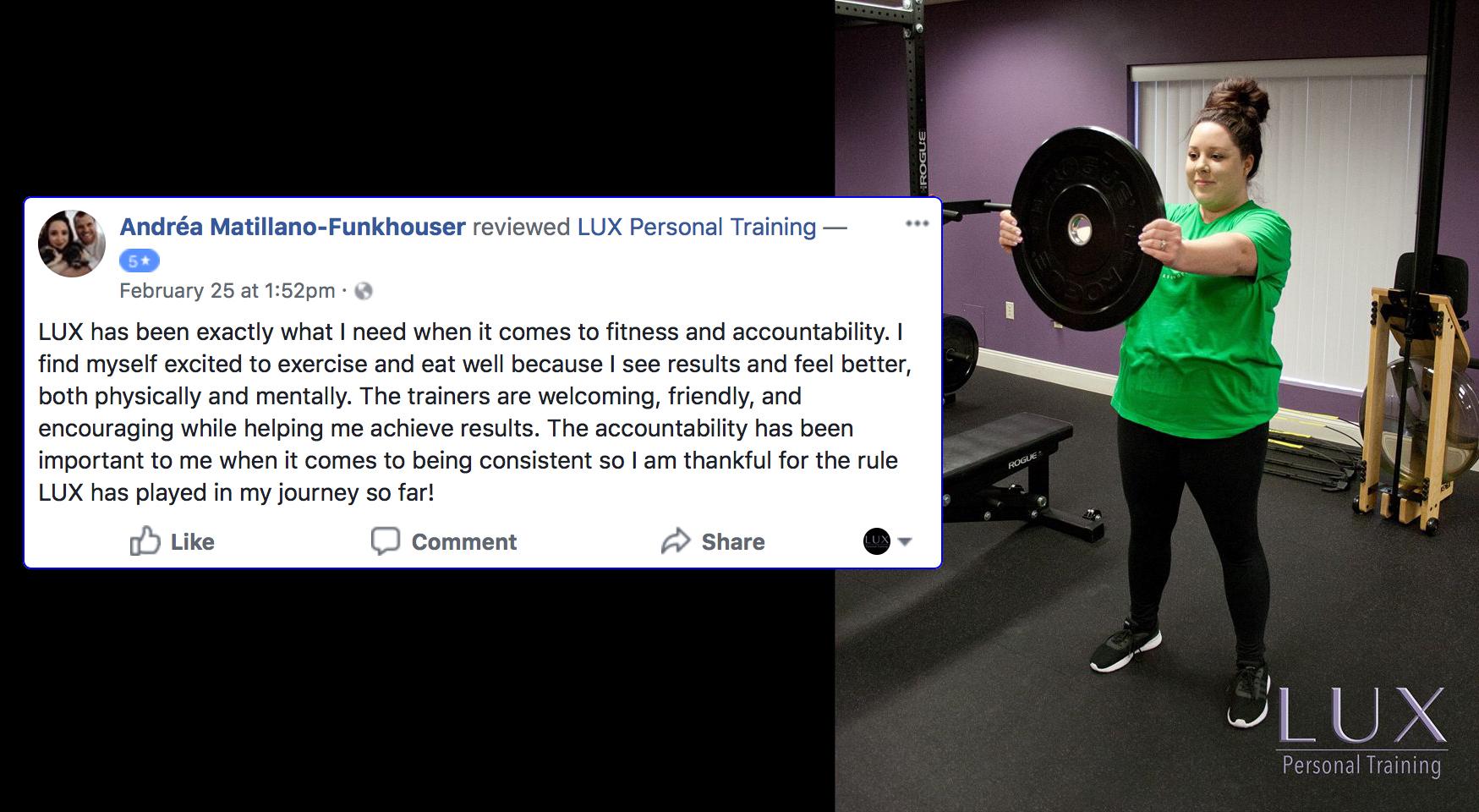 Andrea, LUX Personal Training testimonialS