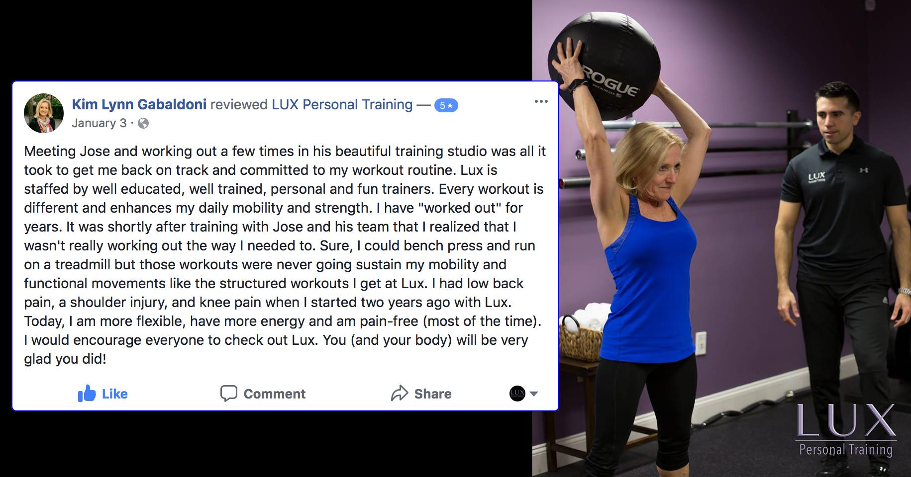 Kim , LUX Personal Training testimonialS